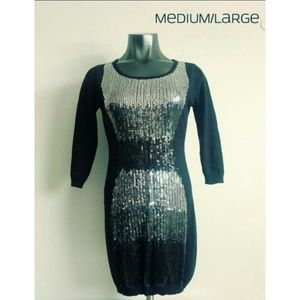 Material Girl Women Top Dress Cotton Sequins Large